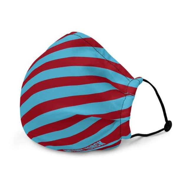 Antony Yorck Microfaser Designer Gesichtsmaske rot blau gestreift Mund-Nasen-Maske anpassbar an Nase verstellbare Ohrschlaufen0010