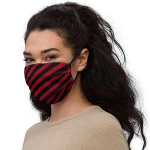 Antony Yorck Microfaser Designer Gesichtsmaske rot schwarz gestreift Mund-Nasen-Maske anpassbar an Nase verstellbare Ohrschlaufen0015