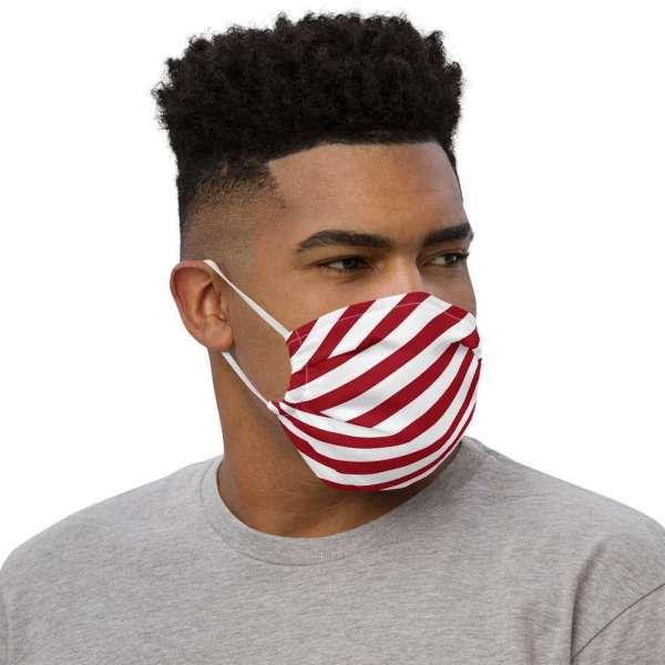 Antony Yorck Microfaser Designer Gesichtsmaske rot weiss gestreift Mund-Nasen-Maske anpassbar an Nase verstellbare Ohrschlaufen0019