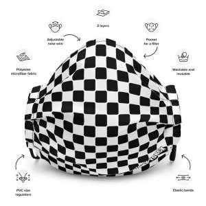 Antony Yorck Microfaser Designer Gesichtsmaske Hahnentritt schwarz weiss Mund-Nasen-Maske anpassbar an Nase verstellbare Ohrschlaufen0003