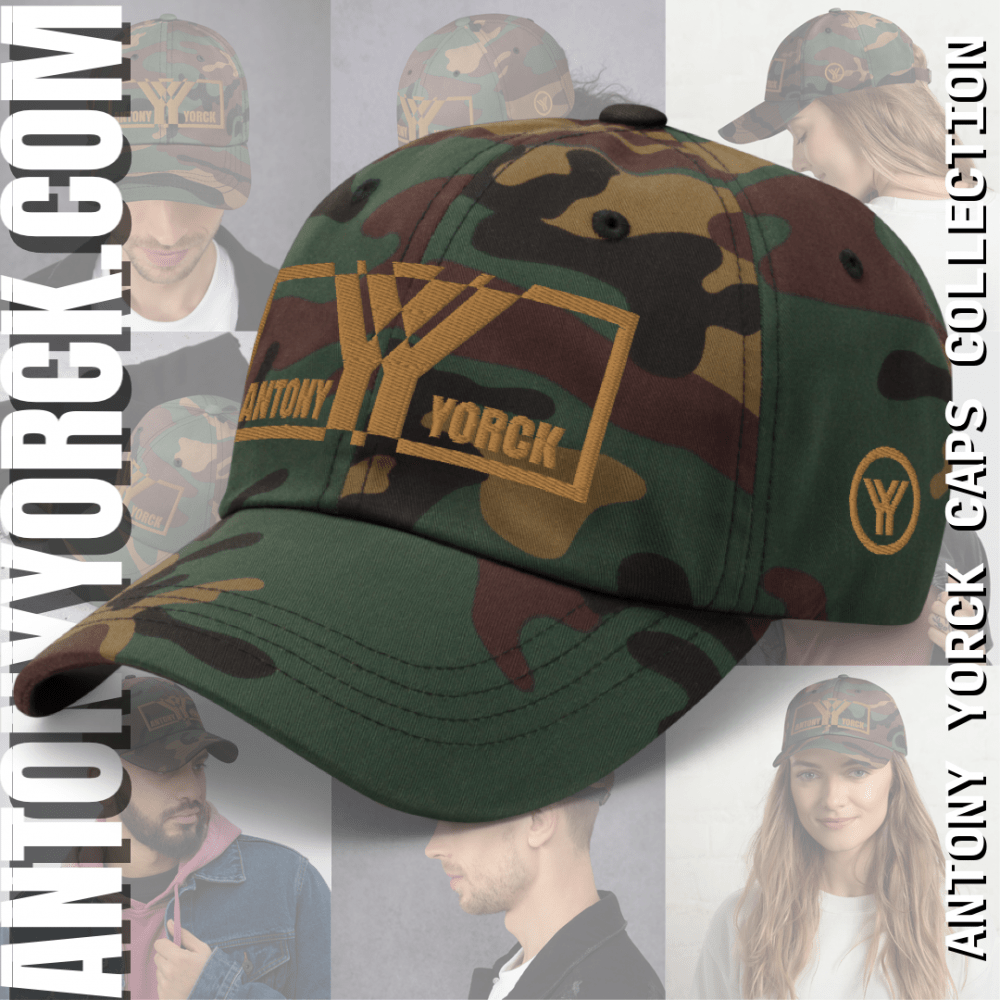 ANTONY YORCK • LUXURY URBAN STREETWEAR FASHION ACCESSORIES • ONLINE SHOP 1 antony yorck baseball cap camouflage embroidered old gold logo