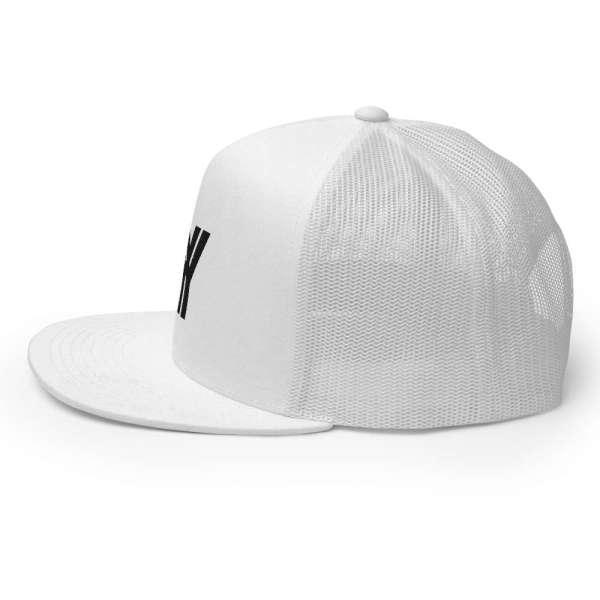 trucker cap snapback cap white logo black high profile flat bill side view l