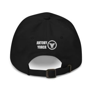 dad cap strapback cap black yy white low profile curved visor back view