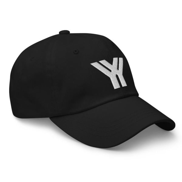 dad cap strapback cap black yy white low profile curved visor side view right