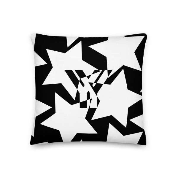 Dekoratives Sofa Kissen • Throw Pillow • Stars White on Black 1 mockup 0a501177