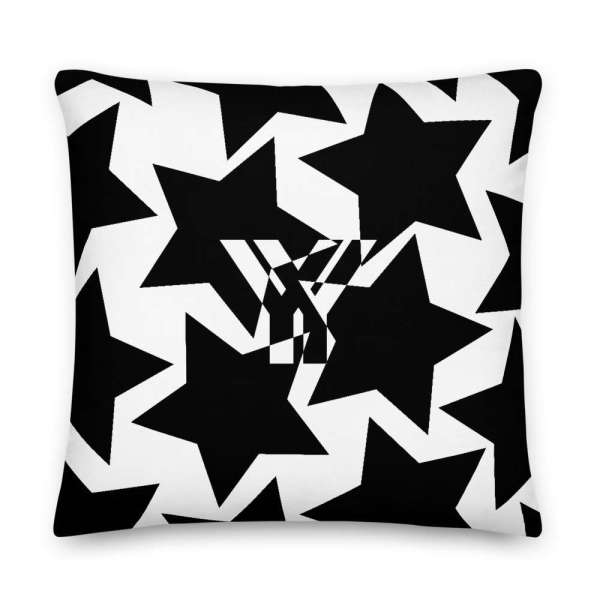 Dekoratives Sofa Kissen • Throw Pillow • Stars Black on White 5 mockup 0b49def4