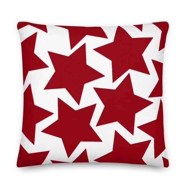 Sofakissen Sterne rot auf weiß 6 mockup 1674294b