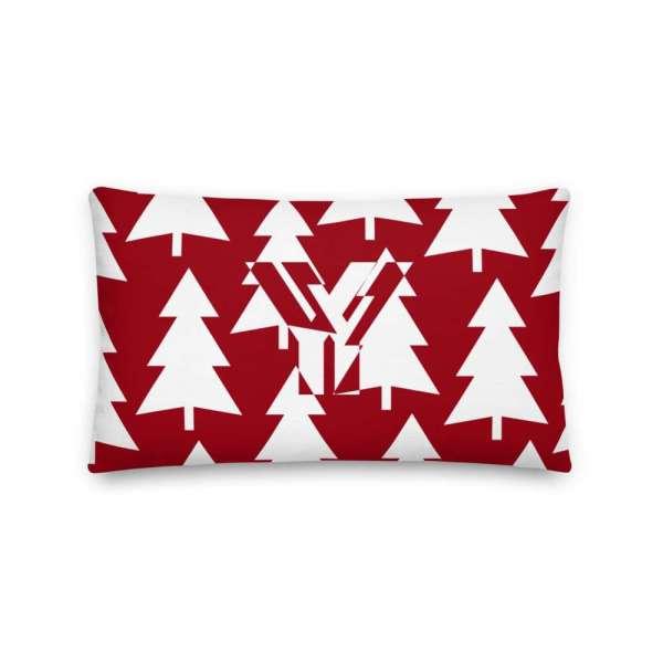 Dekoratives Sofa Kissen • Throw Pillow • Trees White on Red 3 mockup 1b237cd9