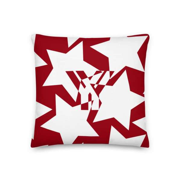 Dekoratives Sofa Kissen • Throw Pillow • Stars White on Red 1 mockup 1f71b780