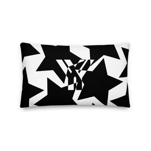 Dekoratives Sofa Kissen • Throw Pillow • Stars Black on White 3 mockup 246e81ad