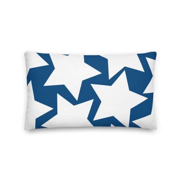 Dekoratives Sofa Kissen • Throw Pillow • Stars White on Blue 4 mockup 283210b8