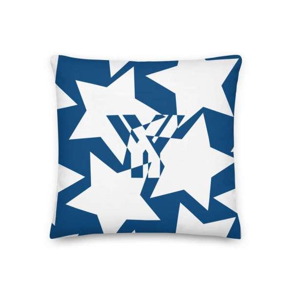 Dekoratives Sofa Kissen • Throw Pillow • Stars White on Blue 1 mockup 5b4cffc1