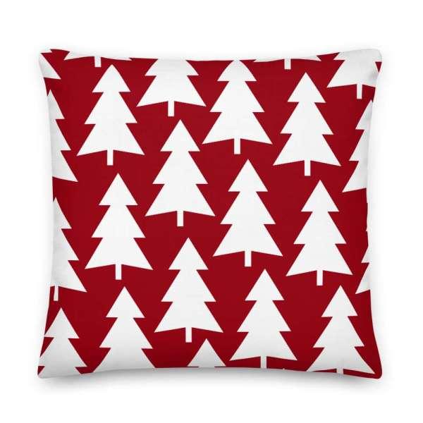 Dekoratives Sofa Kissen • Throw Pillow • Trees White on Red 6 mockup 60a7c3c0
