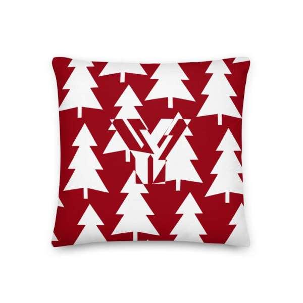 Dekoratives Sofa Kissen • Throw Pillow • Trees White on Red 1 mockup a22baa1e