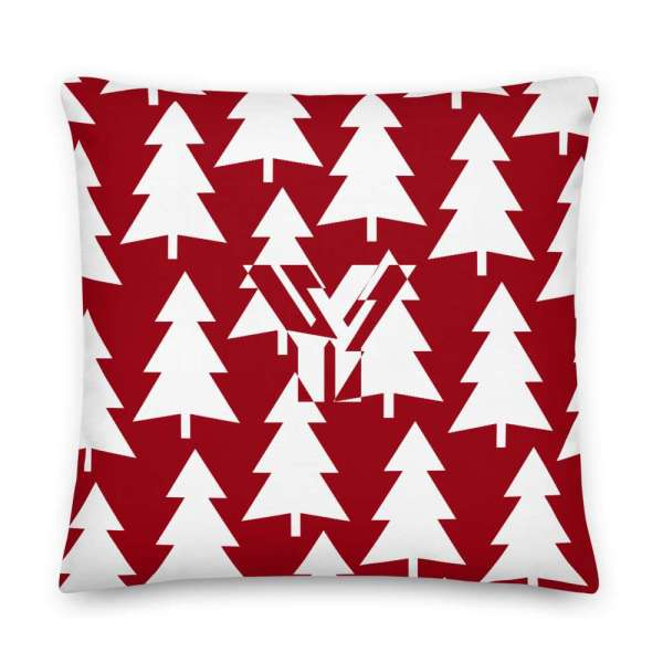 Dekoratives Sofa Kissen • Throw Pillow • Trees White on Red 5 mockup b5f75b13