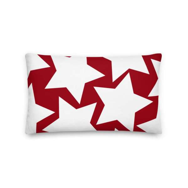 Dekoratives Sofa Kissen • Throw Pillow • Stars White on Red 4 mockup bff21193