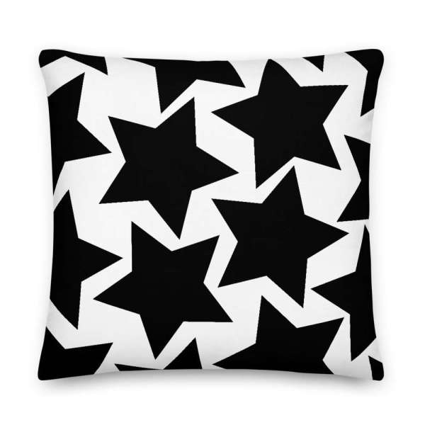 Dekoratives Sofa Kissen • Throw Pillow • Stars Black on White 6 mockup d5945ab4
