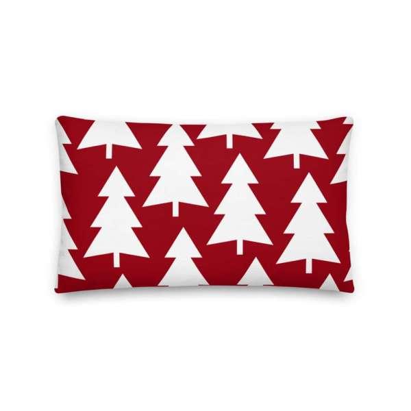 Dekoratives Sofa Kissen • Throw Pillow • Trees White on Red 4 mockup d6eb5bde
