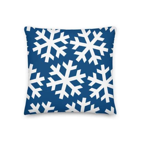 Dekoratives Sofa Kissen • Throw Pillow • Snowflakes White on Blue 2 mockup f2a2638f
