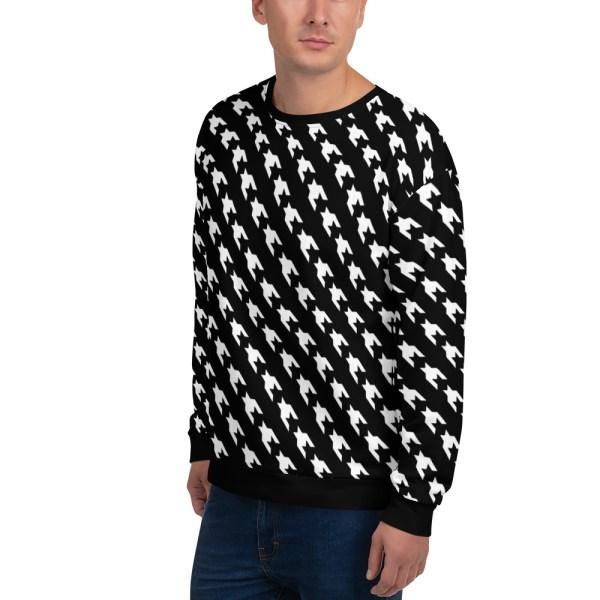 herren sweatshirt schwarz weiss hahnentritt 14