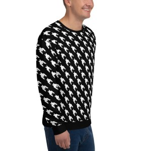 men sweatshirt black white houndstooth 16