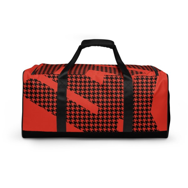 Weekender Houndstooth Logo Mandarin Red Black 1 all over print duffle bag white back 60579514a6762