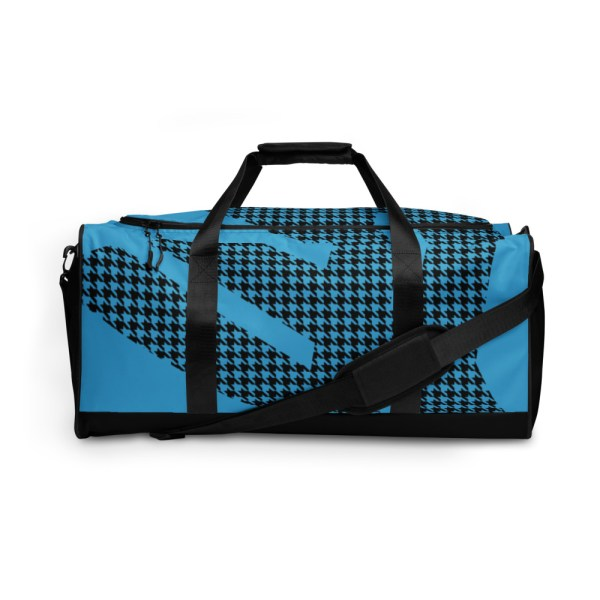 Weekender Houndstooth Logo Aqua Blue Black 2 all over print duffle bag white front 6056546977464