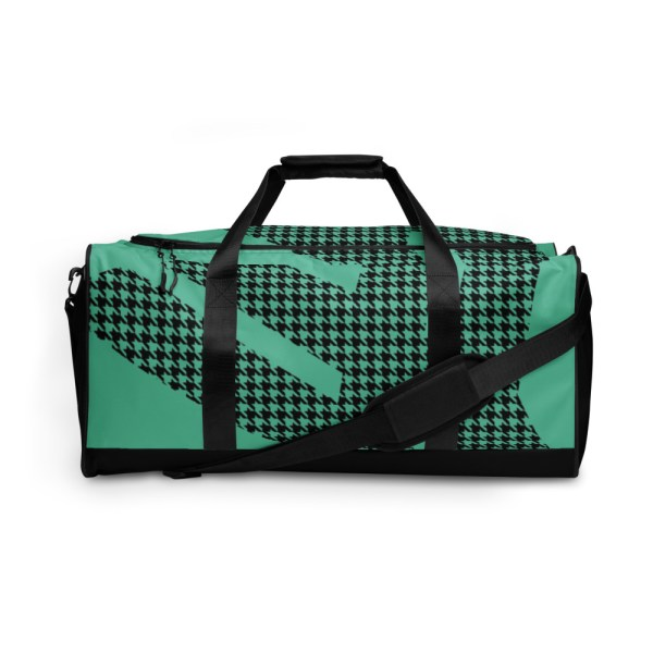Weekender Houndstooth Logo Fresh Mint Black 2 all over print duffle bag white front 60565ca60a203