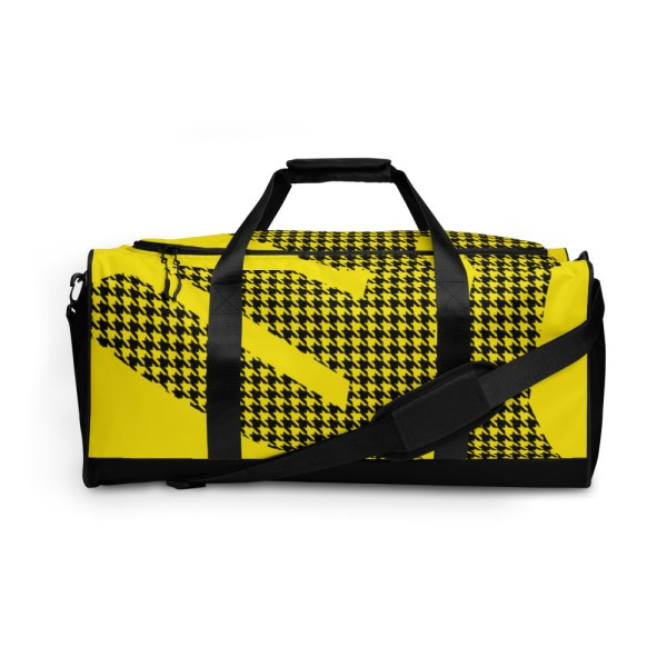 Weekender Houndstooth Logo Deluxe Lemon Black 2 all over print duffle bag white front 6057936921dab