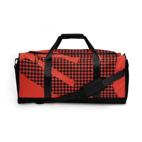 Weekender Houndstooth Logo Mandarin Red Black 2 all over print duffle bag white front 60579514a6839