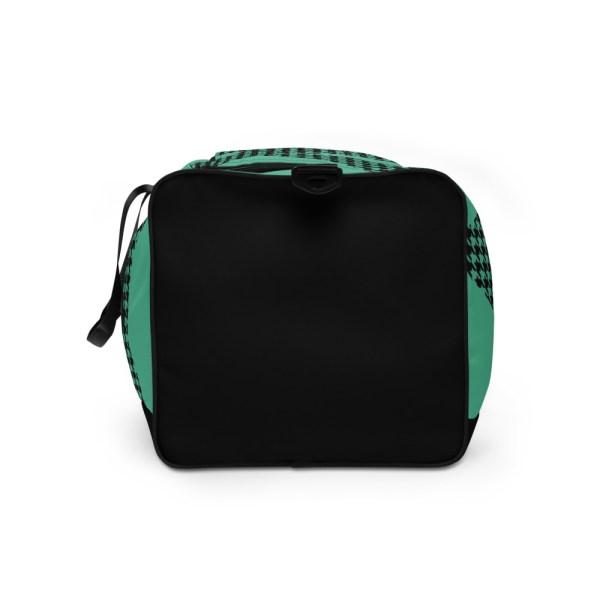 Weekender Houndstooth Logo Fresh Mint Black 6 all over print duffle bag white left side 60565ca60a478