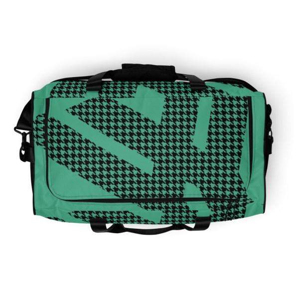 Weekender Houndstooth Logo Fresh Mint Black 7 all over print duffle bag white top 60565ca60a515