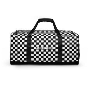 sporttasche trainingstasche karo checkers black front view