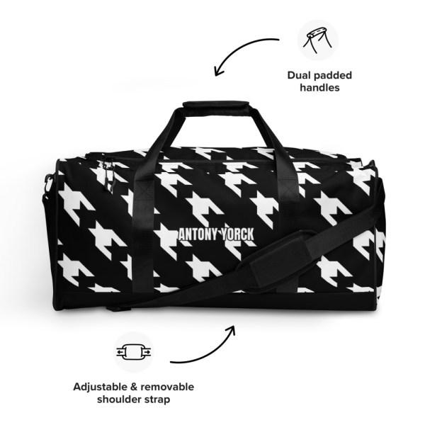 sporttasche trainingstasche houndstooth white black front features