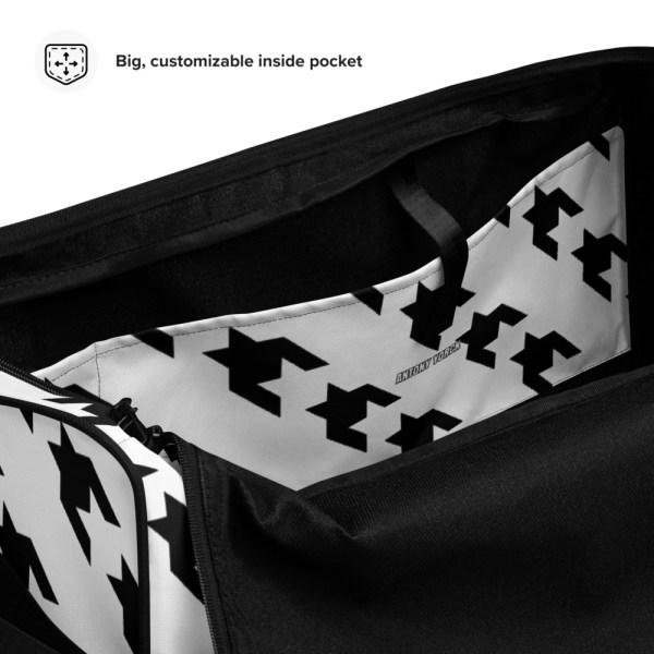 sporttasche trainingstasche houndstooth black white inside