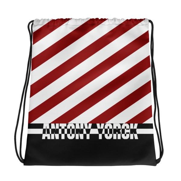 Designer Strandbeutel mit Kordelzug im Turnbeutel Design rot weiß 1 all over print drawstring bag white front 60c08a1b2bf17