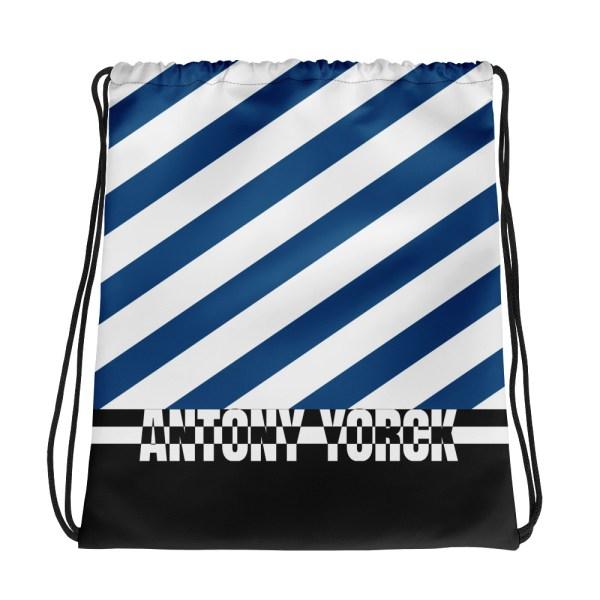 Designer Strandbeutel mit Kordelzug im Turnbeutel Design blau weiß 1 all over print drawstring bag white front 60c08ada80543