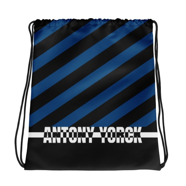 Designer Strandbeutel mit Kordelzug im Turnbeutel Design blau schwarz 1 all over print drawstring bag white front 60c08b0f708f3