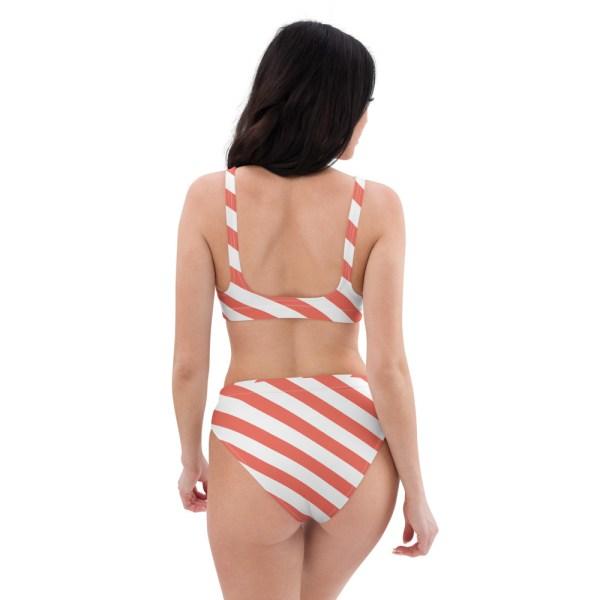 HIGH WAIST DESIGNER BIKINI STRIPES ALL OVER aus Recyclingmaterial koralle weiß gestreift 4 all over print recycled high waisted bikini white back 60be5deba62a2