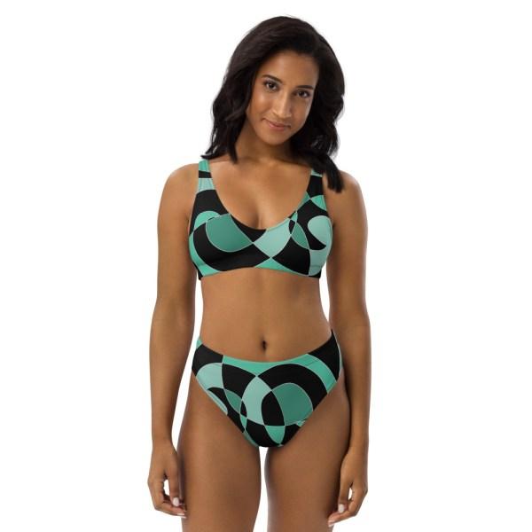 HIGH WAIST DESIGNER BIKINI aus Recyclingmaterial Ocean 2 all over print recycled high waisted bikini white front 60be6194b0930