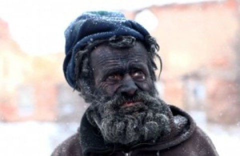 "Europe's dirtiest man Ludvik Dolezal who lives in a hovel and spends his nights in buried in HOT ASH. See SWNS story SWDIRTY; Homeless Ludvik Dolezal, 58, from Novy Bydzov, in the Czech Republic burns whatever he finds to create the dirty pile before crawling into it to sleep. He has even burnt his MATTRESS and DUVET in order to achieve the perfect mound of firey remains. Blackened Ludvik, who passers-by often refer to as a devil from fairytales, said: ""One day I simply decided to quit my job, that was a years ago. Since then I've staying here with the fire."