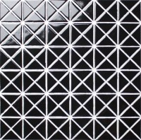 1'' Glossy Pure Black Porcelain Triangle Wall Tile Mosaic
