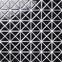 1'' Glossy Pure Black Porcelain Triangle Wall Tile Mosaic ...