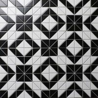 Artistic 2'' Black White Triangle Tile, Porcelain Floor