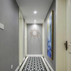 Blue Living Room Walls Tables Furniture For Artistic 2'' Black White Triangle Tile, Porcelain Floor ...