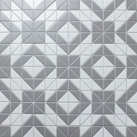 2'' Matte Triangle Gray White Triangle Tile, Porcelain ...