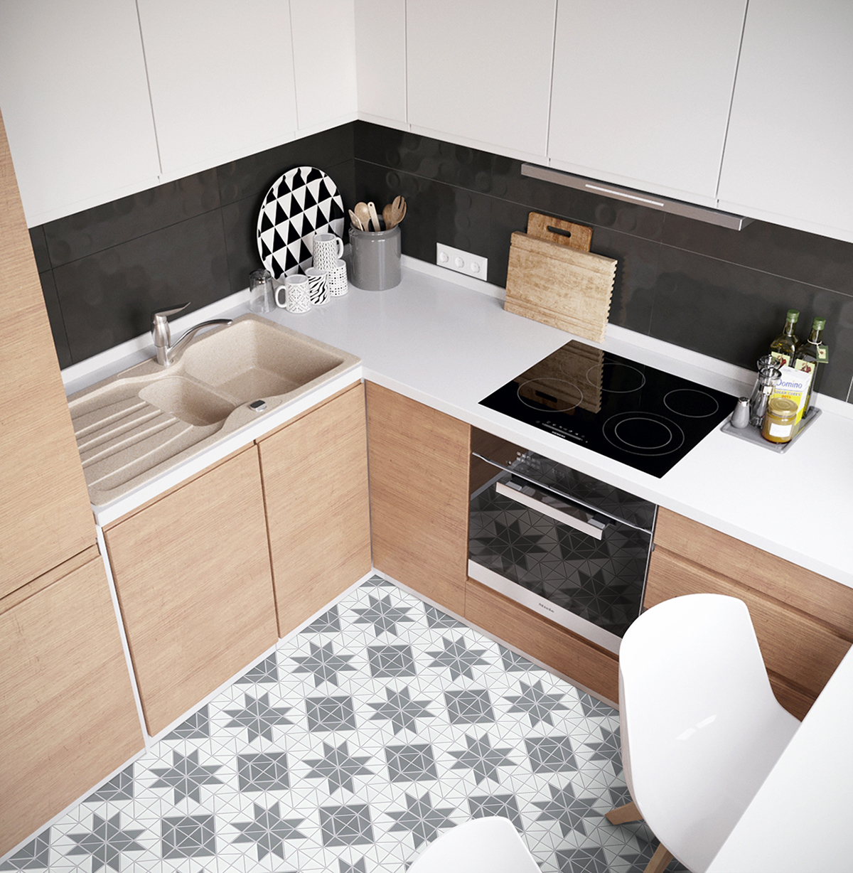 grey mixed porcelain triangle tile
