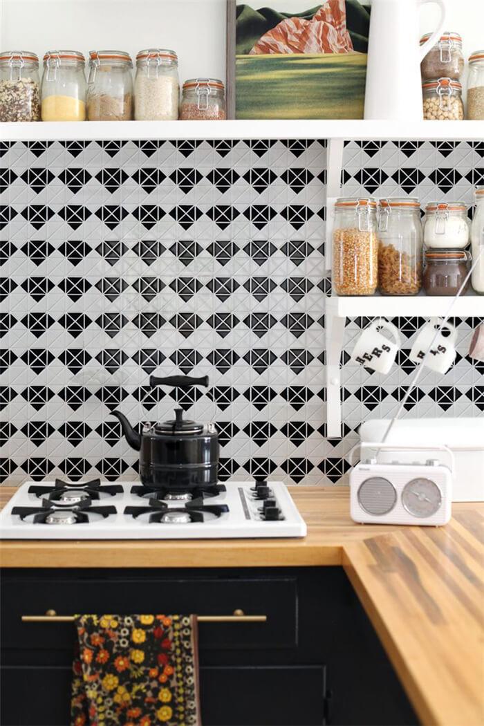black and white diamond tile for