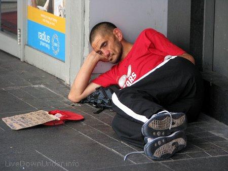 bezdomny w Auckland, Queen Street