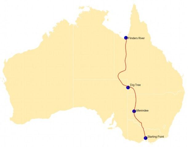 Mapa wyprawy Burke'a i Willsa